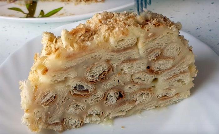 торт Наполеон полосками